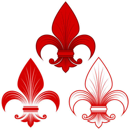 Vector design of fleur de lis in three graphic styles in red, representation of the lily flower, a symbol used in medieval heraldry. All on white background.