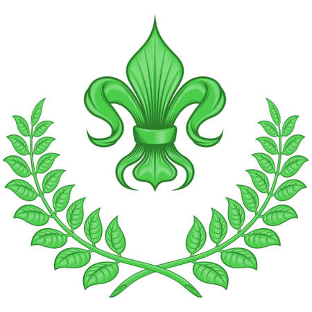 Vector design of fleur de lis with laurel wreath, symbol used in medieval heraldry. All on white background.