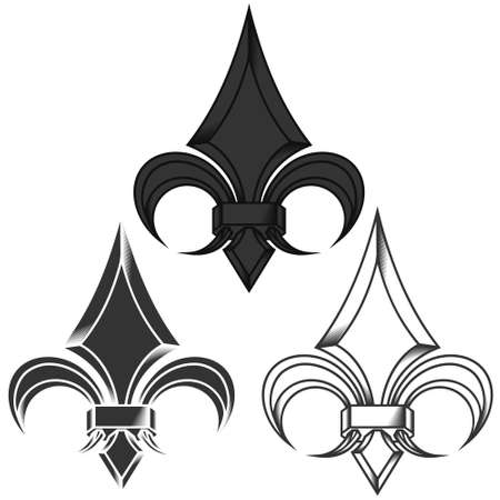 Vector design of fleur de lis in metallic style in three different styles, representation of the lily flower, symbol used in medieval heraldry. All on white background.