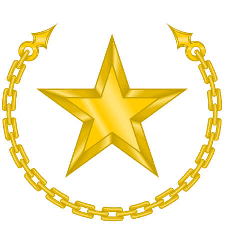 Vector design of a star surrounded by chain in gold color. All on white background. Stock Illustratie