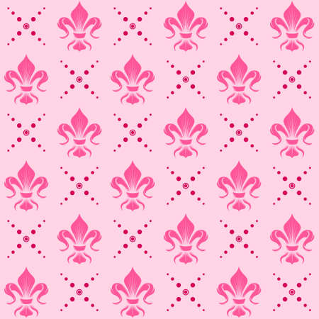 Fleur de lis pattern vector design, symbol used in medieval heraldry, all on white background