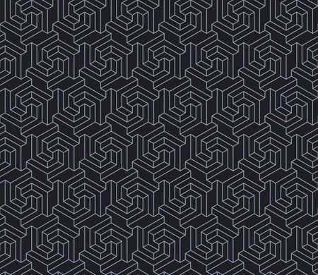 Vector design of geometric pattern with three-dimensional shape, 3d hexagon lines texture for background