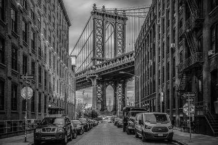 October 28th, 2016 - New York - USA, a glimpse of the Manhattan bridge seen from Washington Street, Brooklyn