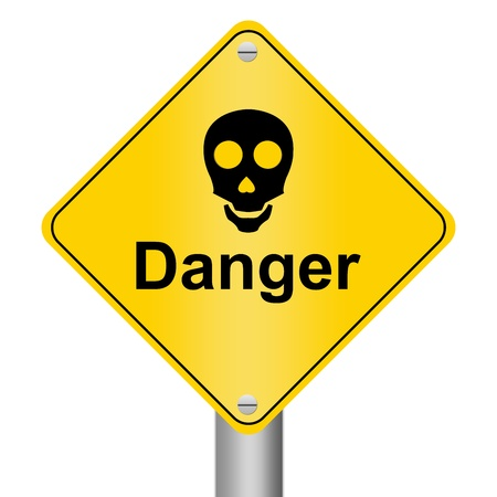 Skull Danger Sign Isolated on White photo