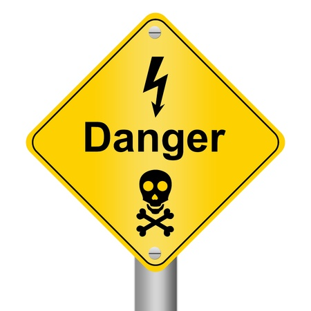 chemical hazard: Electricity Danger Zone Warning Sign Stock Photo