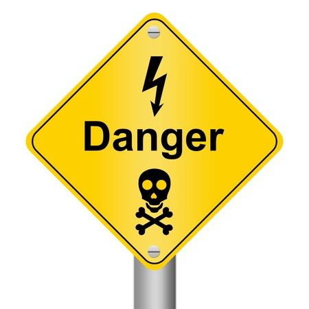 riesgo quimico: Peligro de Electricidad Zona se�al de advertencia Foto de archivo