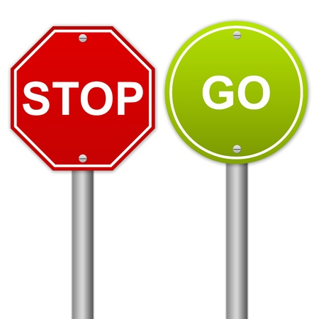 行き: 負と正の行く記号は、白で隔離される看板を停止します。 写真素材
