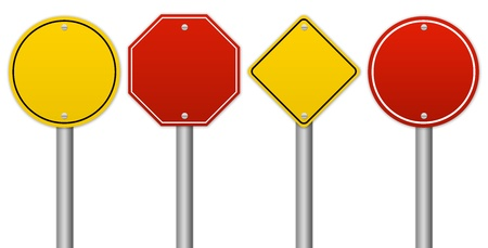 drive through: Set of Blank Traffic Sign Isolate on White Background
