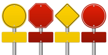 cautionary: Set of Blank Traffic Sign Isolate on White Background