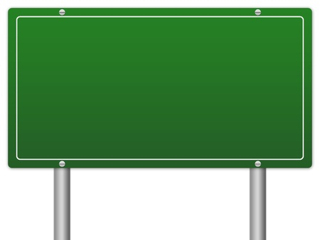 drive through: Blank Green Traffic Information Sign Isolate on White Background