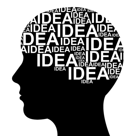 Idea Concept  in Brain Isolated on White Background photo