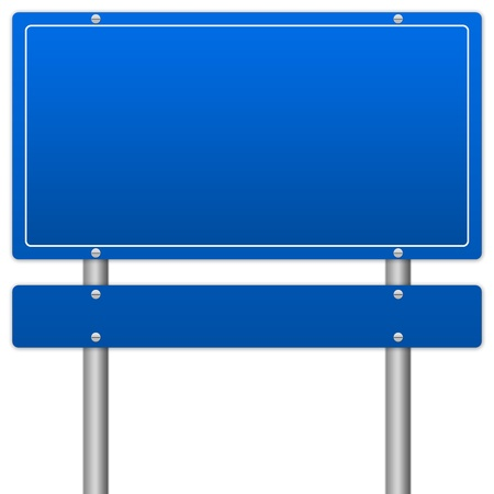 Blank Blue Traffic Information Sign Isolate on White Background photo