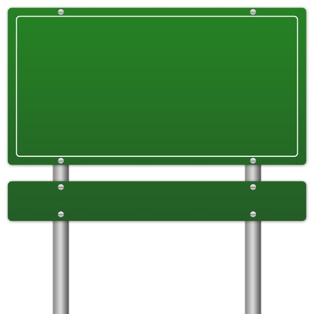 Blank Green Traffic Information Sign Isolate on White Background