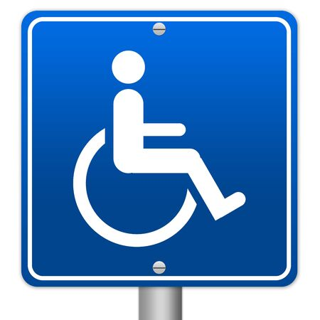 Blue Square Wheelchair Handicap Sign Isolated on White photo