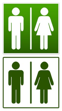 Green Toilet Sign Isolated on White Stock Photo - 13354960