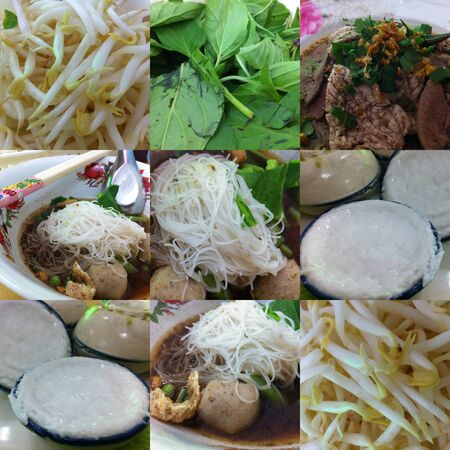 Photo Set of Traditional Thai Noodle with Dessert Stock Photo - 13359934
