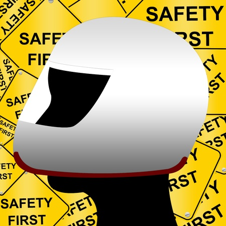 Idea Concept for Driving With Safety Helmet and Safety First Road Sign Background Stock Photo - 13501522