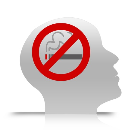negative area: No Smoking in Brain Isolate on White Background