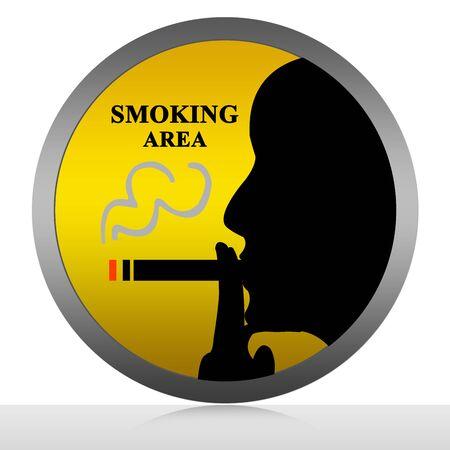 Smoking Area Sign Isolated on White Stock Photo - 13501509