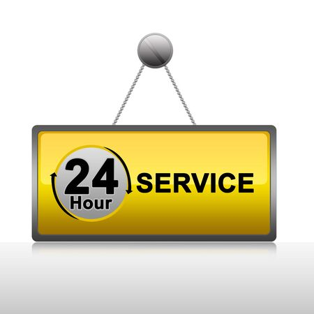 aftersale: Hanging 24 Hour Service Plate Isolate on White Background Stock Photo