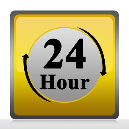 Square 24 Hour Service Sign Isolate on White Background Stock Photo - 13501511