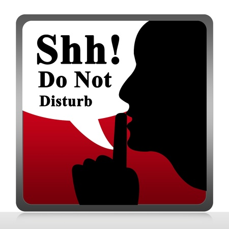 not working: Do Not Disturb Sign  Isolate on White Background