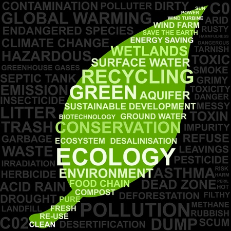 Save The Earth Concept - Abstract Image Made From Words Which Relate With Green, Ecology and Pollution Keyword Stock Photo - 13501525