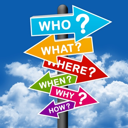 The Question Sign With Blue Sky background  photo
