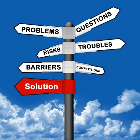 education choice: Business Idea Concept With Solution and Many Problem Traffic Sign on Blue Sky Background  Stock Photo