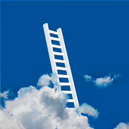3D Stair Rising to The Cloud , Business Concept for Success  photo