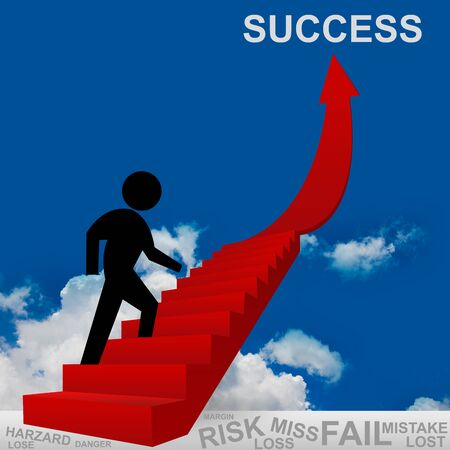 3D Image, The Man Climbing for Success, Business Concept of Step for Success photo