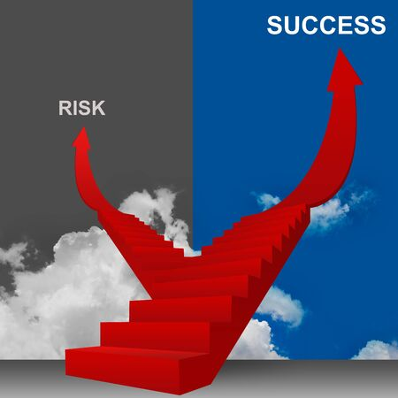 3D Image, Concept of Business Solution for Risk or Success  photo