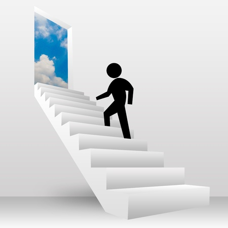 3D Image, The Man Walking Step on The Stairs To The Sky for Freedom  photo