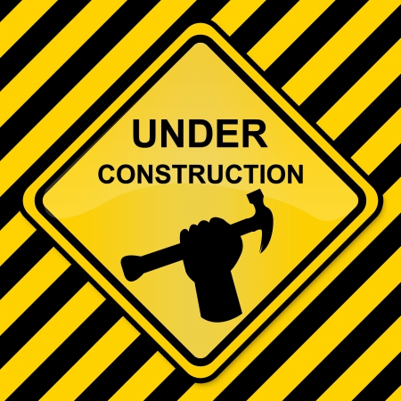 Under Construction Sign With Yellow and Black Line Background  photo
