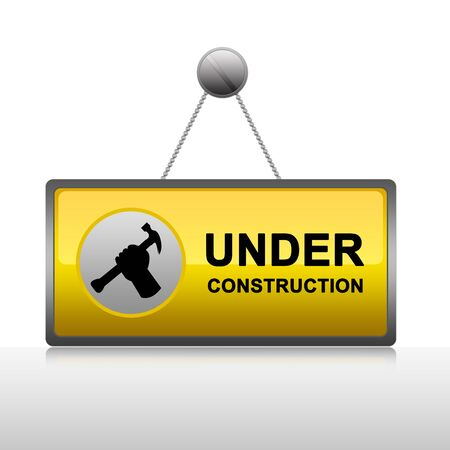 Under Construction Sign Hang on The Wall  photo