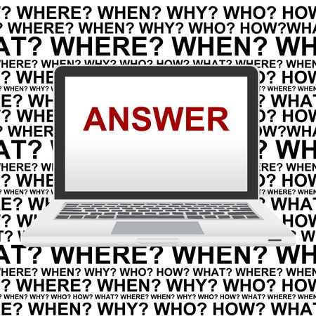 Business Concept With The Answer on Notebook Screen and Many Question Background Stock Photo - 14605088