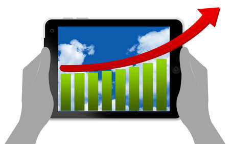 Business Concept With Bar Chart and Arrow in Tablet PC Screen Isolated on White  photo