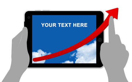 The Red Arrow in Tablet PC Screen Isolated on White Stock Photo - 14605030