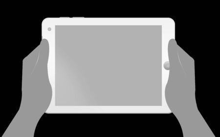 Blank White Tablet PC With Hand Isolate on Black Background Stock Photo - 14605004