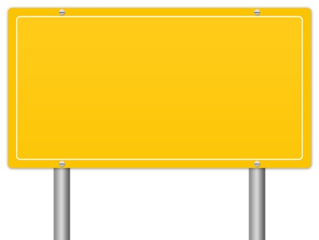 The Blank Yellow Information Sign Isolate on White Background photo