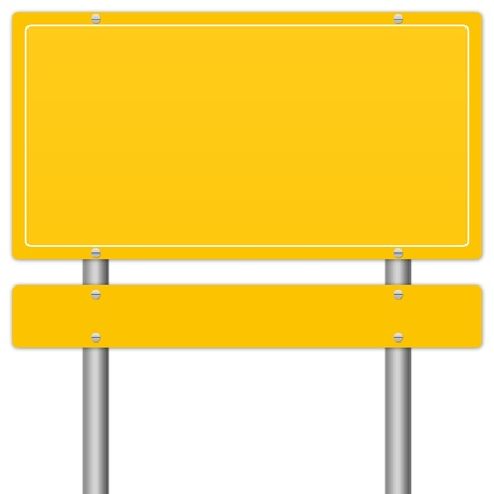 Blank Yellow Information Road Sign Isolate on White Background  photo