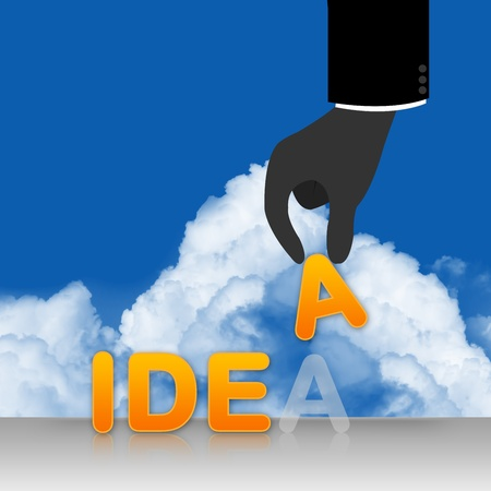 Idea Generate Concept With Missing A Letter on Blue Sky Background  photo