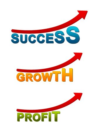 Success, Growth, Profit Arrow Isolated on White Background Stock Photo - 14605046