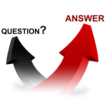 La question 3D et Arrow Réponse isolé sur fond blanc