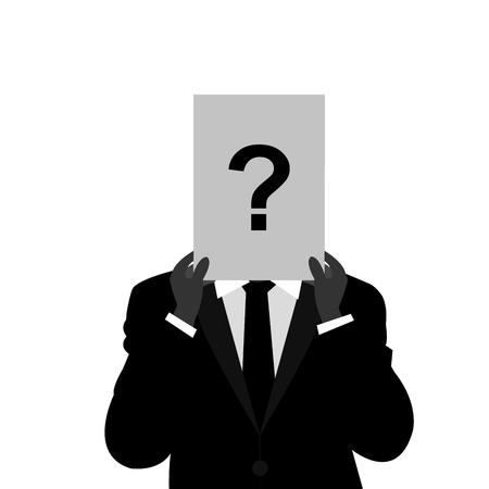 The Businessman With Question Mark Paper Cover His Face Isolated on White Background  photo