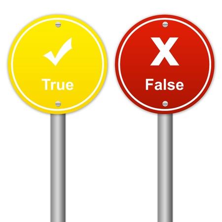 true false: Circle True and False Sign Isolated on White Background