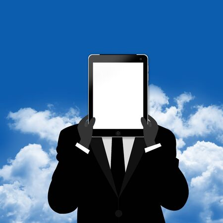 The Businessman With Blank Tablet PC Screen Cover His Face on Blue Sky Background  photo