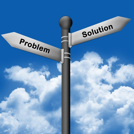 The Silver Problem and Solution Traffic Sign With Blue Sky Background Stock Photo - 14605114