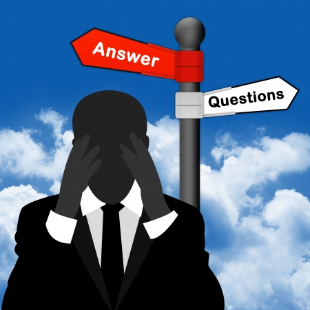 A Worried Businessman With Question and Answer Traffic Sign in Blue Sky Background  photo