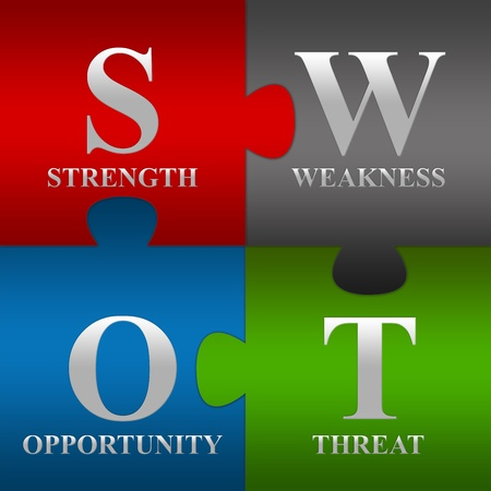 swot analysis: The Four Pieces SWOT Puzzle For Business Concept  Stock Photo